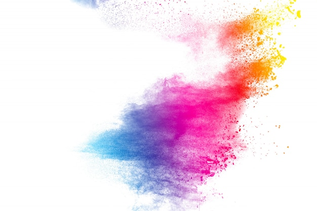 Explosion de poudre abstraite multi couleur sur fond blanc