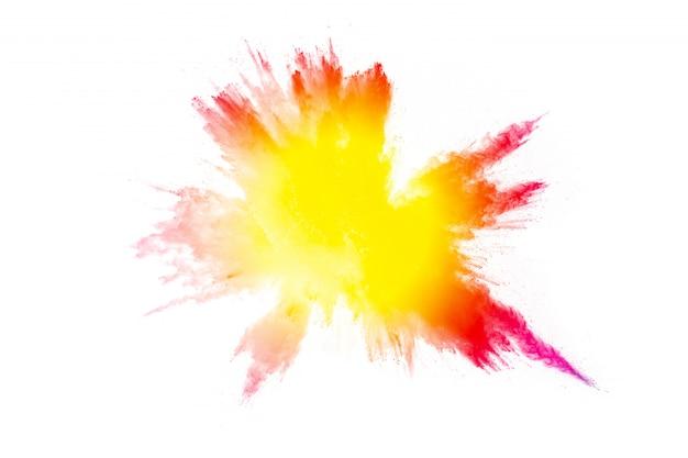 Explosion de poudre de couleur. éclaboussures de poussière colorées.