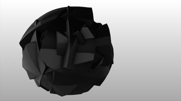 Explosion de la sphère noire. explosion noire abstraite. fond géométrique