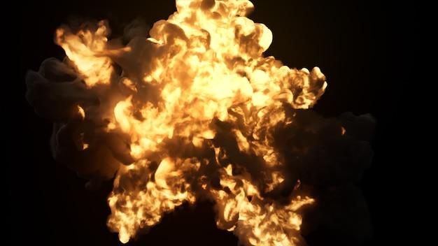 Explosion ultra réaliste avec une épaisse fumée noire sur un fond noir isolé