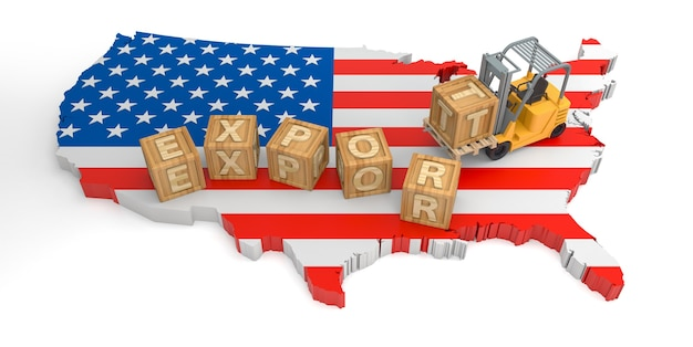Exporter le texte du bloc en bois des états-unis. rendu 3d