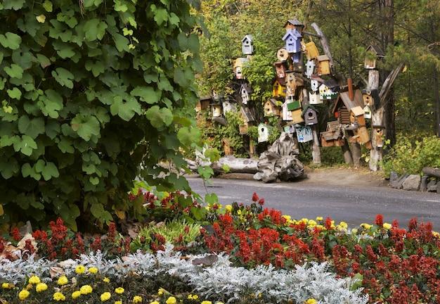Exposition de nichoirs dans le parc