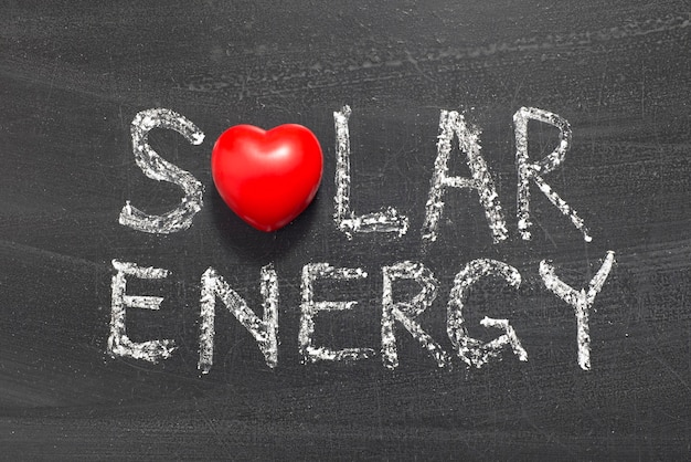 Expression de l'énergie solaire manuscrite sur le tableau noir de l'école