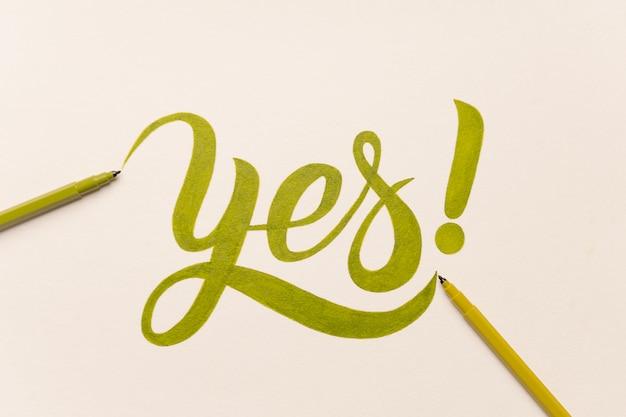 Expression de motivation d'approbation manuscrite avec marqueur vert