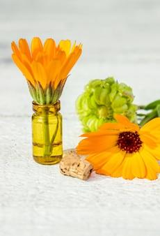 Extrait de calendula et fleurs dans une petite bouteille. mise au point sélective.