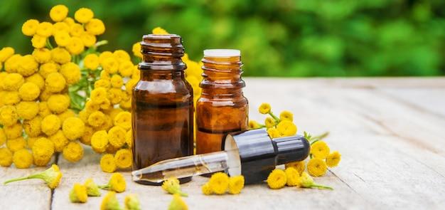 Extrait médicinal de tanaisie, teinture, décoction, huile, dans une petite bouteille.