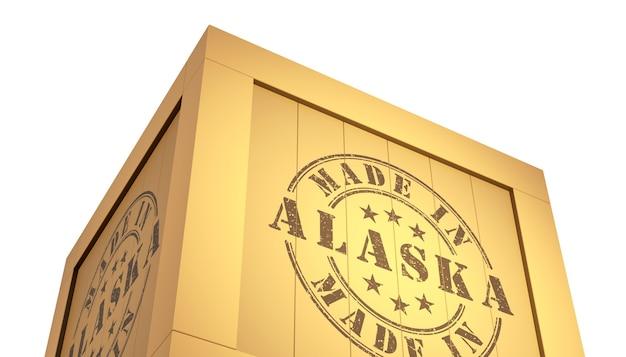 Fabriqué en alaska avec la carte des états-unis. illustration 3d