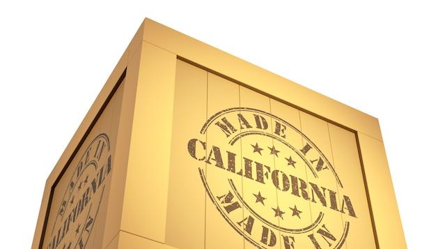 Fabriqué en californie avec la carte des états-unis. illustration 3d
