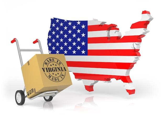 Fabriqué à washington avec la carte des états-unis. illustration 3d