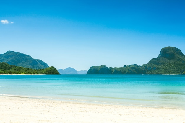 Fabuleuse plage exotique de sable blanc et de hauts palmiers, philippines, el nido