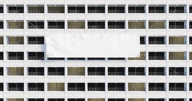 Façade d'un bâtiment plein de balcons avec une bannière blanche géante suspendue. rendu 3d