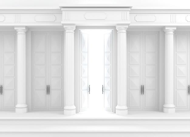 Façade blanche classique avec colonnes