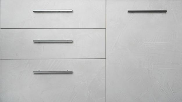 Face avant du meuble de cuisine avec tiroirs - intérieur gris moderne