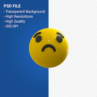Facebook 3d emoji réactions triste isolé