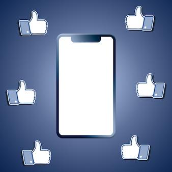 Facebook aime autour du rendu 3d de l'écran du téléphone