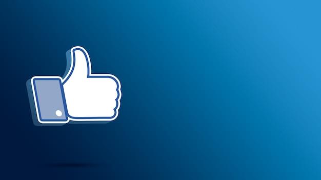 Facebook comme icône, pouces vers le haut 3d