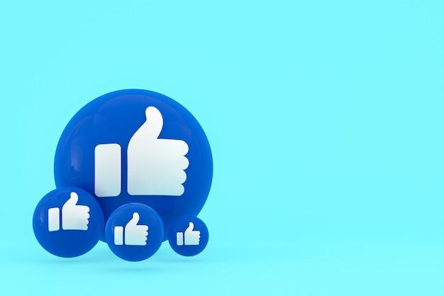 Facebook réactions emoji 3d render, symbole de ballon de médias sociaux avec motif d'icônes facebook
