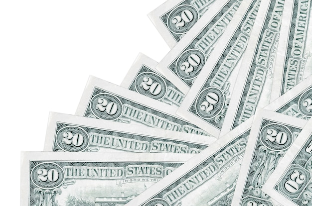 Les factures de 20 dollars américains se trouvent dans un ordre différent isolé sur blanc. banque locale ou concept de fabrication d'argent.