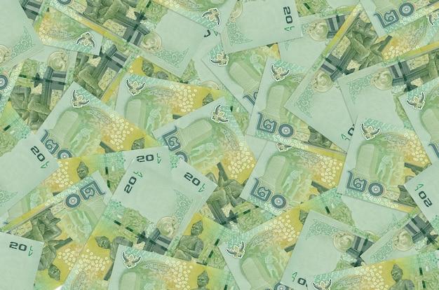 Les factures de baht thaïlandais se trouvent dans une grosse pile