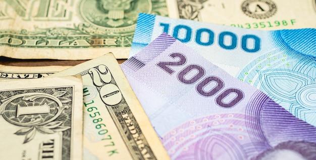 Factures de peso chilien avec le dollar américain sur la photo représentant le taux de change