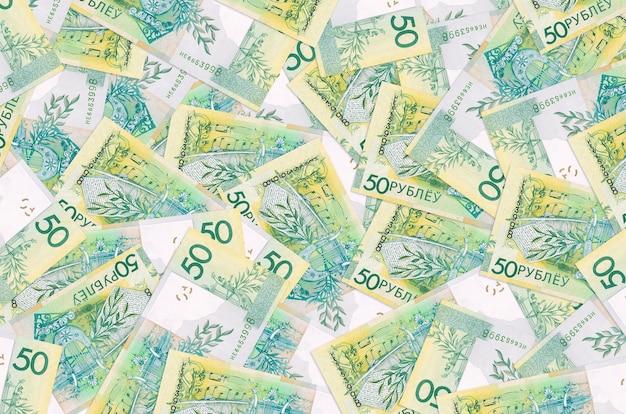 Les factures en roubles biélorusses se trouvent en gros tas