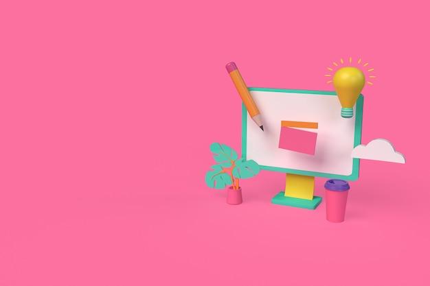 Faire un concept vidéo avec un ordinateur. illustration de rendu 3d