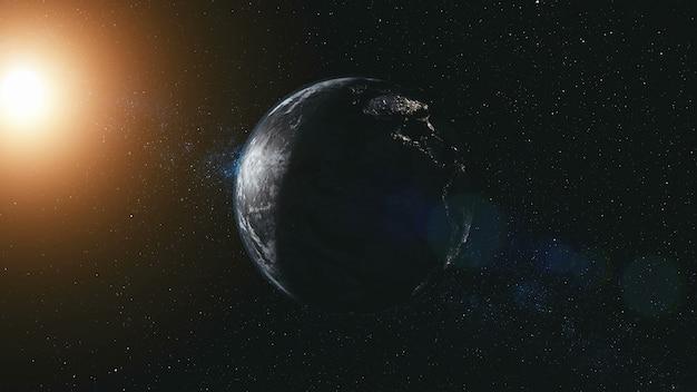 Faire pivoter la planète terre zoom avant illumination du rayon de soleil