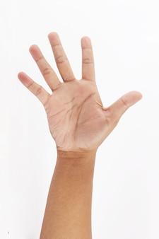 Faire un symbole de cinq doigts