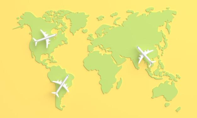 Faire le tour du monde en avion. concept de voyage du monde