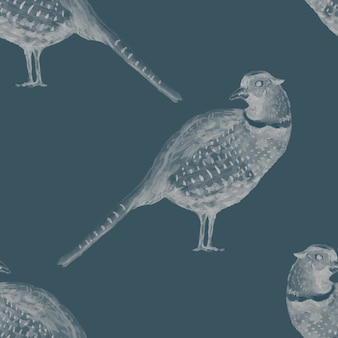 Faisan perdrix oiseau plumes aquarelle dessinés à la main