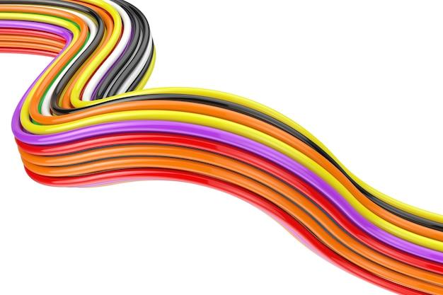 Faisceau de câbles de couleur sur fond blanc. rendu 3d