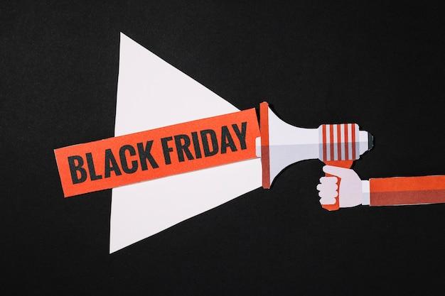 Faisceau mégaphone avec signe vendredi noir