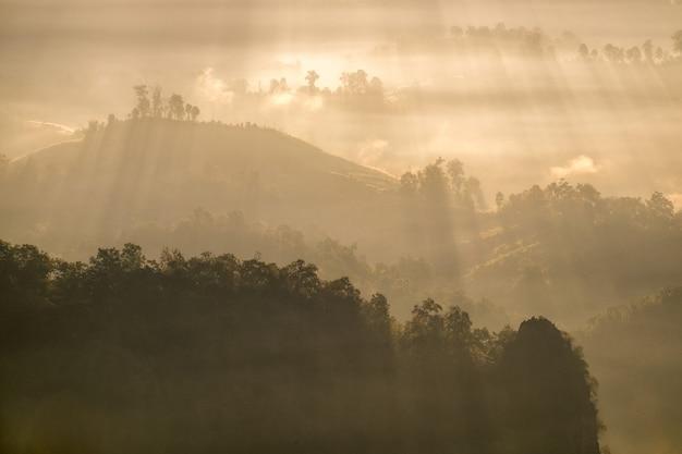 Faisceau de soleil sur la colline de brouillard le matin