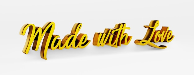 Fait avec amour. une phrase calligraphique. logo 3d dans le style de la calligraphie à la main sur un fond uniforme blanc avec des ombres. rendu 3d.