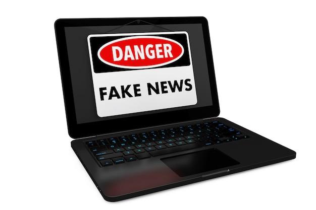Fake news danger sign sur écran d'ordinateur portable sur fond blanc. rendu 3d.