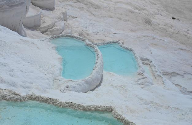 Falaise minérale carbonatée aux eaux chargées de calcite à hiérapolis pamukkale en turquie. pamukkale signifie château de coton en turc, est un site naturel dans la province de denizli.