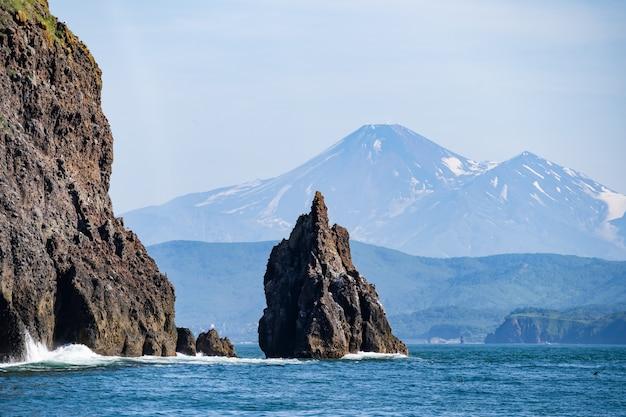 Falaises de pierre de l'île dans l'océan pacifique. faune du kamchatka. extrême-orient, russie