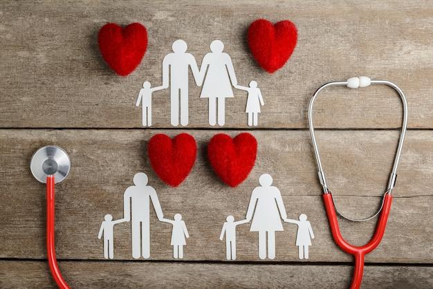 Famille de chaîne de papier coeur rouge, stéthoscope et papier sur table en bois