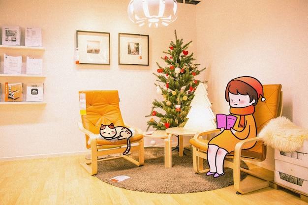 Famille chaleureuse: illustration de photographie créative mélangée