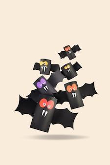 Famille de chauve-souris halloween pour le concept d'halloween. artisanat en papier / bricolage.