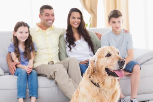 Famille et chien regardant la télévision ensemble