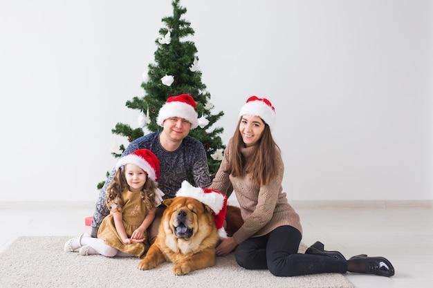 Famille avec chien sont allongés sur le sol près de l'arbre de noël