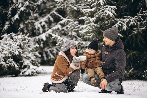 Famille dans une forêt d'hiver