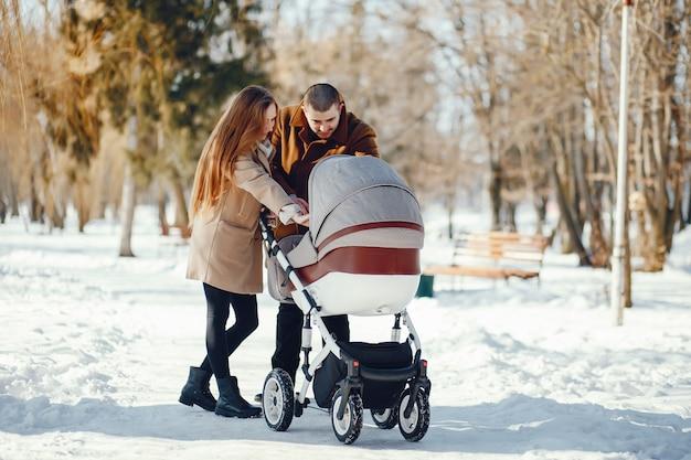 Famille dans un parc d'hiver