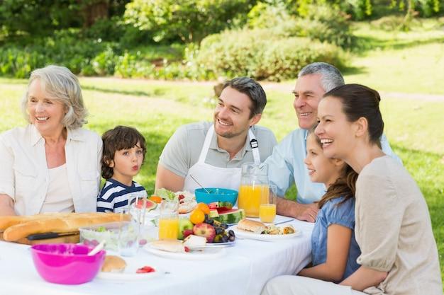 Famille élargie en train de déjeuner dans la pelouse