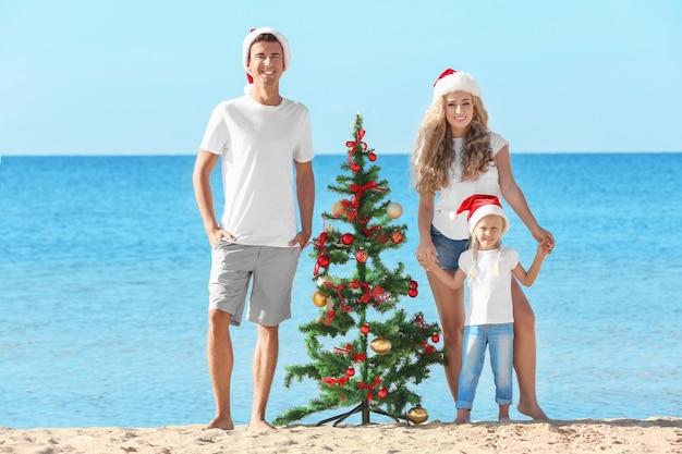 Famille heureuse et arbre de noël sur la plage