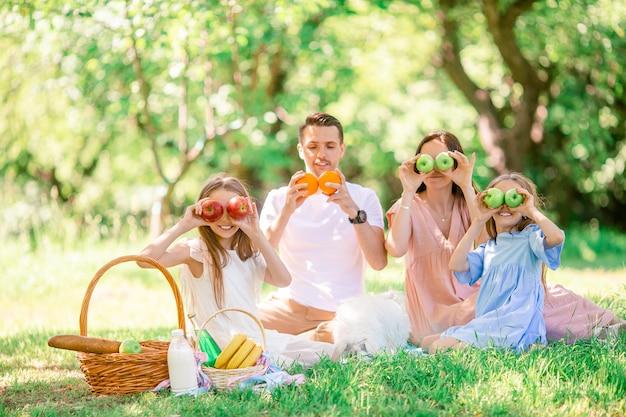 Famille heureuse sur un pique-nique dans le parc par une journée ensoleillée