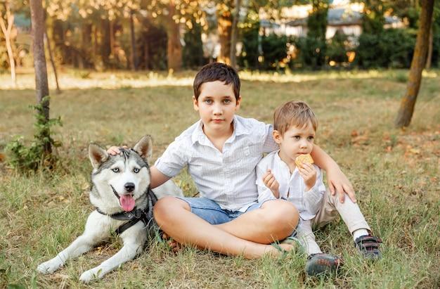 Famille jouant avec un chien dans le parc. le propriétaire se promène avec un chien. soins des animaux