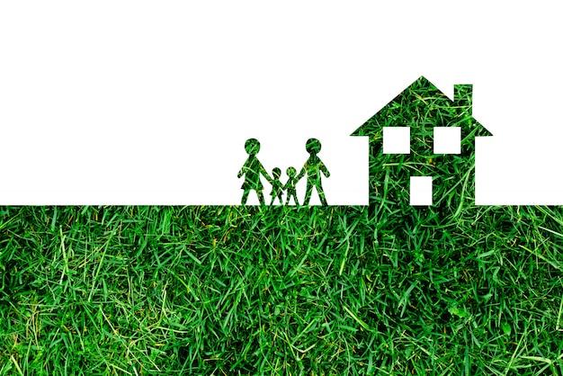 Famille et maison sur blanc