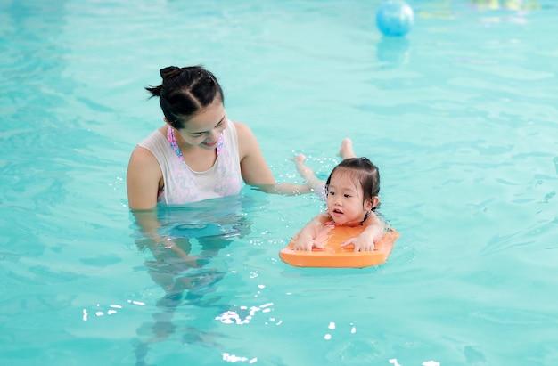 Famille de mère enseignant enfant dans la piscine